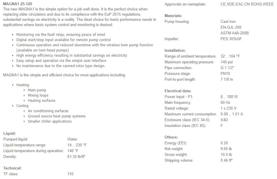 Grundfos MAGNA1 25-120 (180) 'A' Rated/EuP Ready Variable Speed Circulator  240V