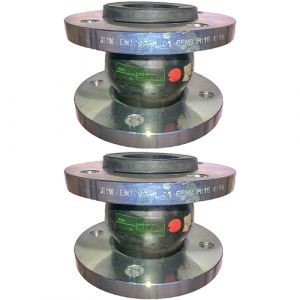 80mm (80NB) Flanged PN16 EPDM Untied Rubber Expansion Joint Set (x2) for Heating Systems