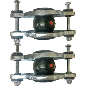 80mm (80NB) Flanged PN16 EPDM Tied Rubber Expansion Joint Set (x2) for Heating Systems
