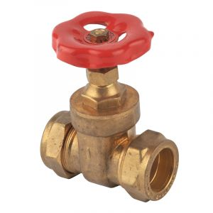22 mm Compression Fitting Brass Gate Valve (Set of 2)