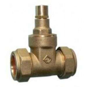 15 mm Compression Fitting Brass Lockshield Gate Valve (Set of 2)