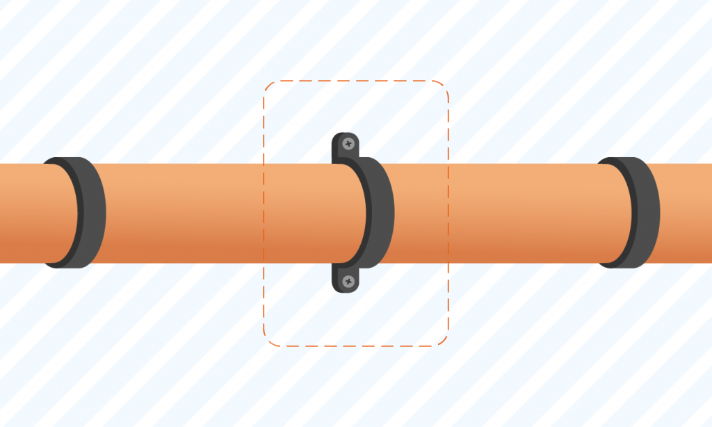graphic showing a user how to secure pipes to wall