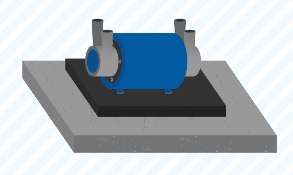 graphic showing a user how to mount a shower pump on a paving slab