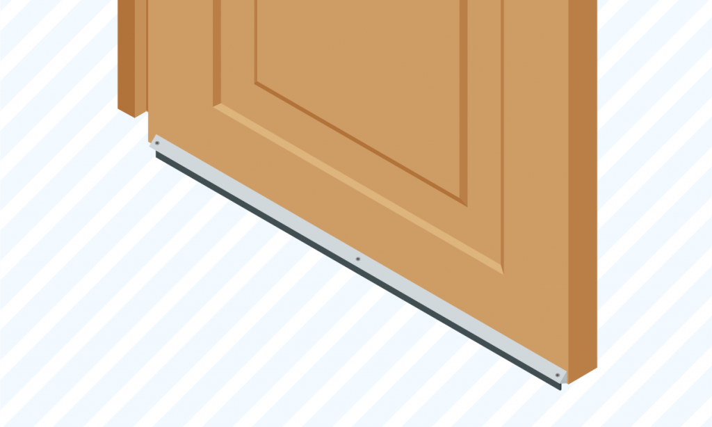 graphic showing a user how to seal a door