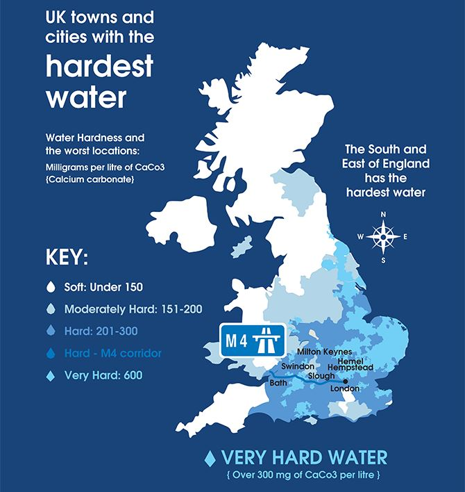 graphic showing where you will find the best and worst water supplies in the UK