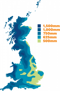 graphic showing annual rainfall in mm per year in the UK