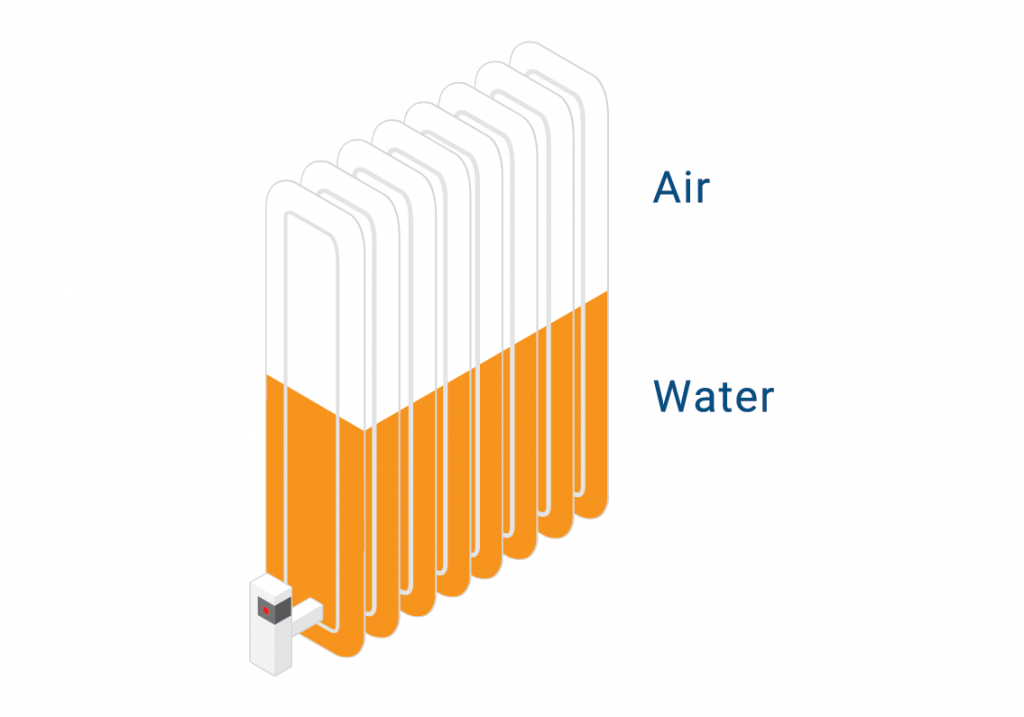 graphic showing the user that the radiator is cold at the top and hot at the bottom