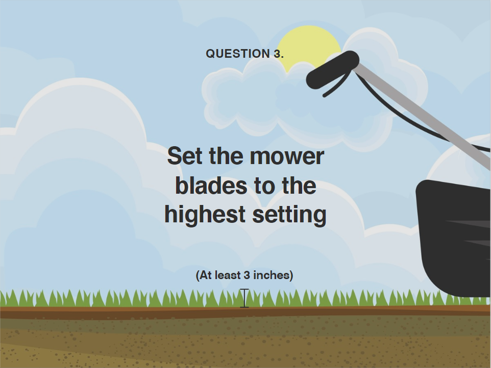 image showing what height to set mower blades during heatwave
