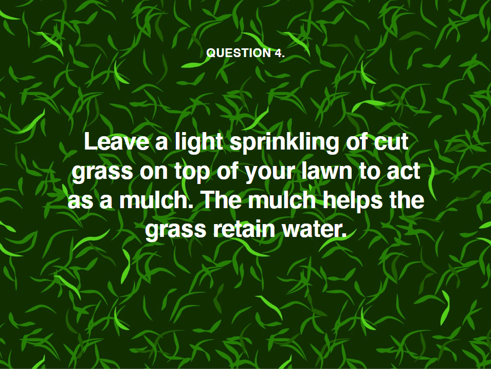 image telling you to leave a light sprinkling of cut grass on your lawn during a heatwave