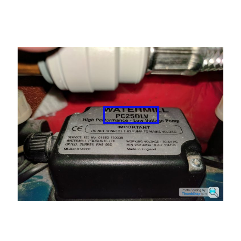 image showing you where you can find the SKU on the nameplate of a shower pump