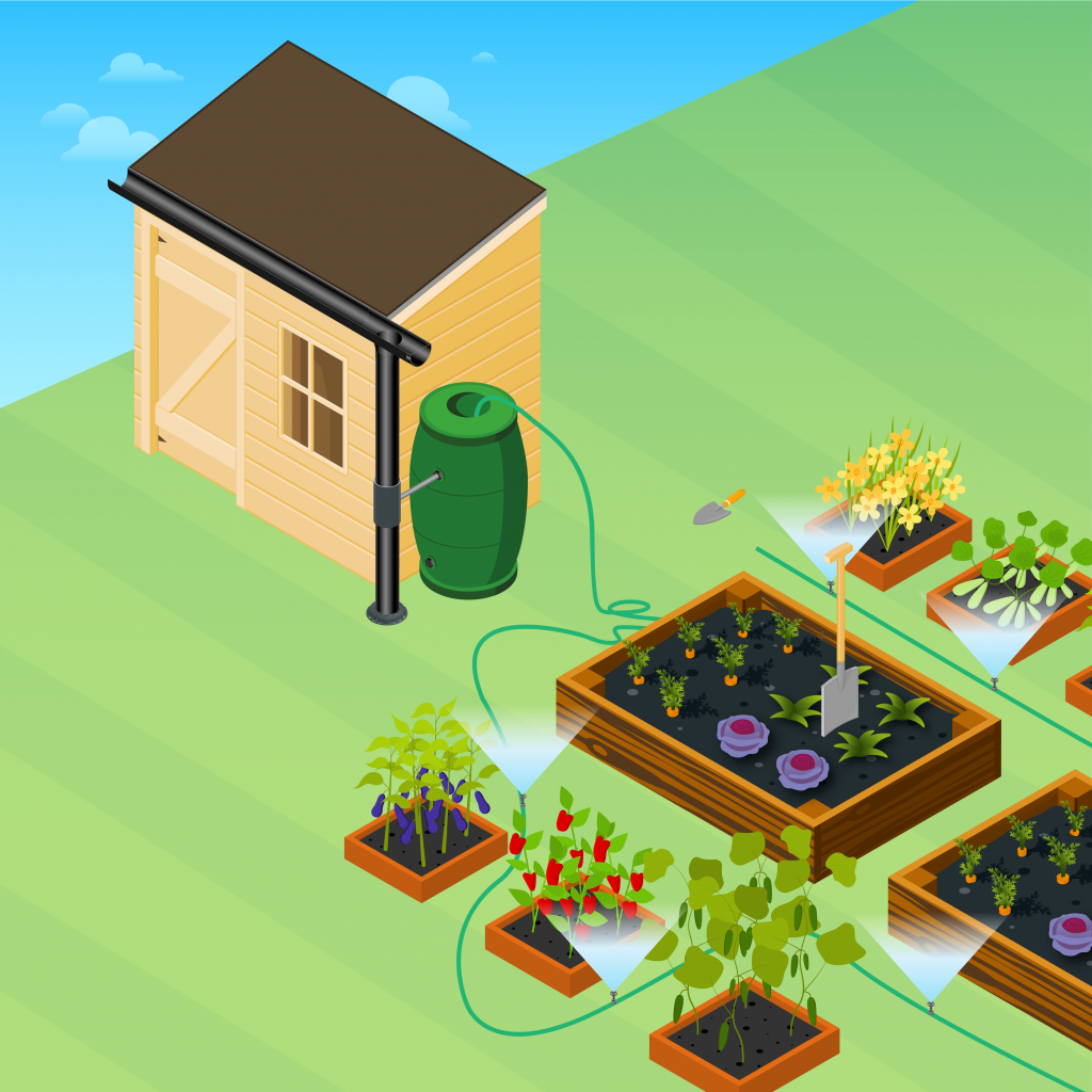 image showing you how to set up a garden irrigation system