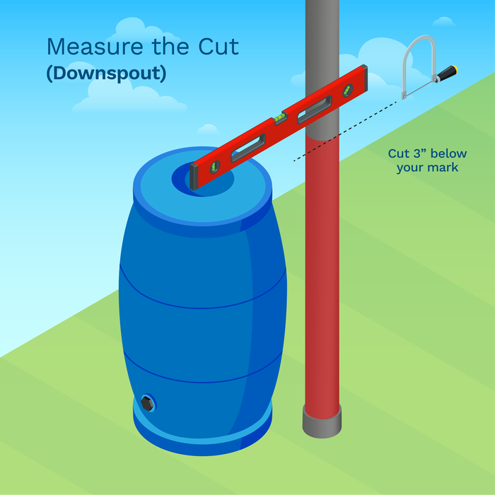 image showing you how to measure the cut on a downspout installation