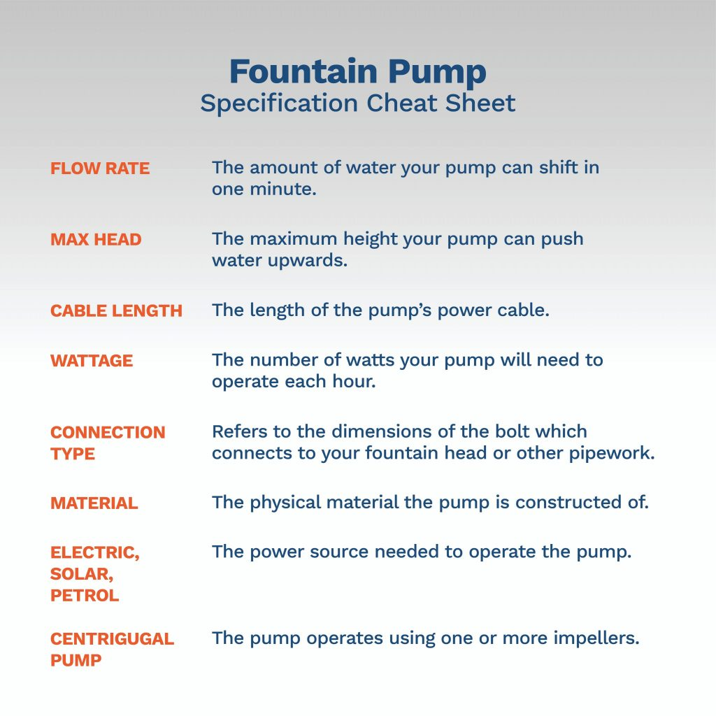 fountain pump specification cheat sheet