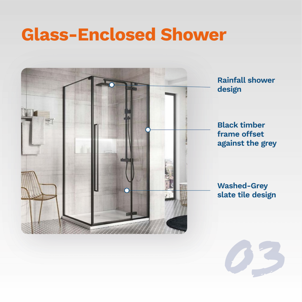 image showing typical glass-enclosed shower design