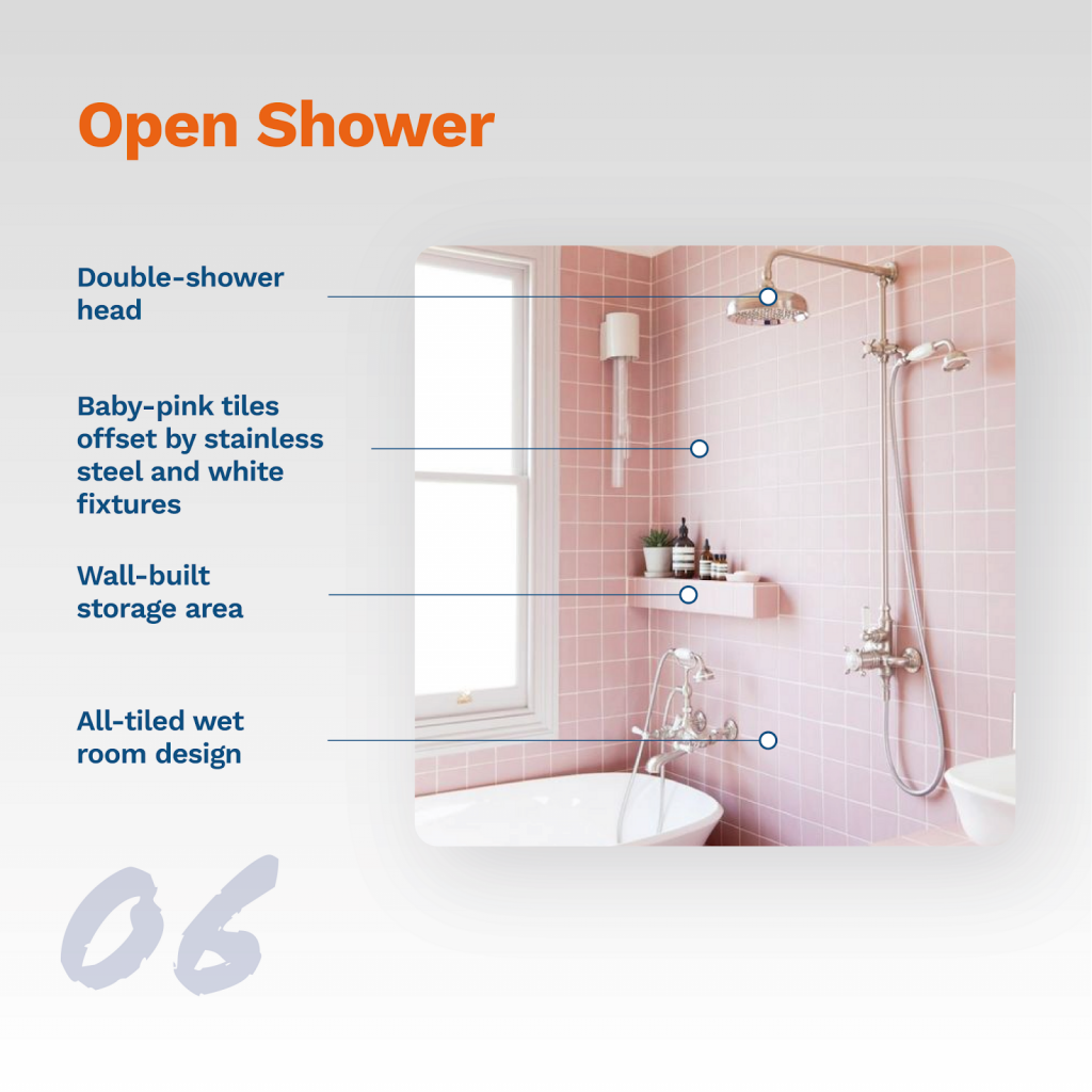 image showing typical open shower design