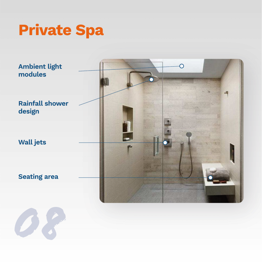 image showing typical private spa shower design