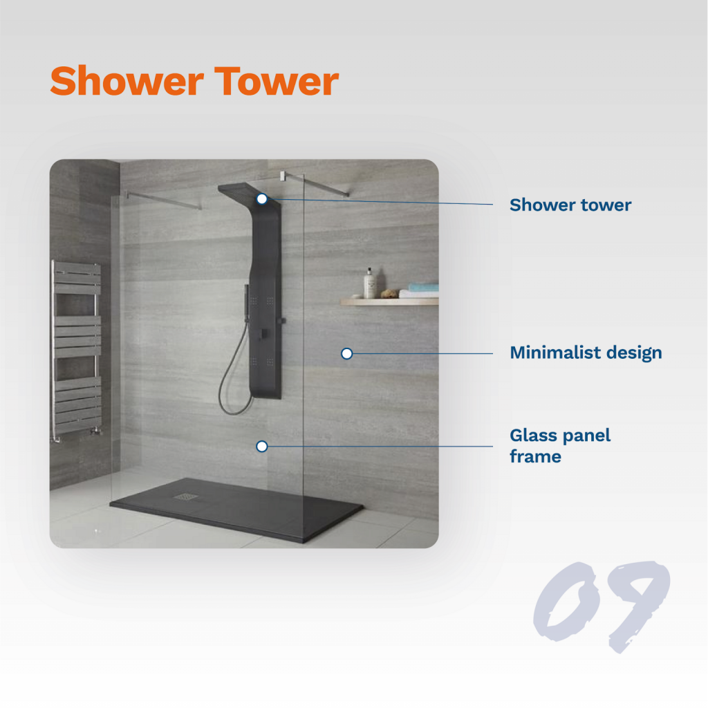 image showing typical shower tower design