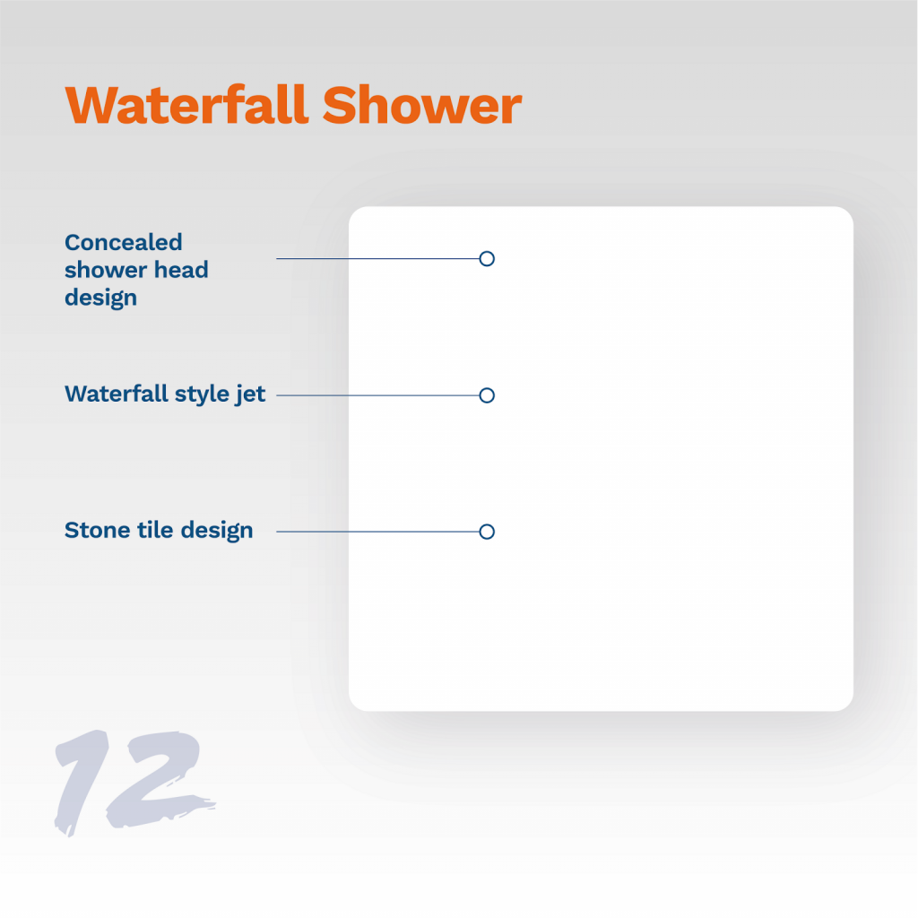 image showing typical waterfall shower design
